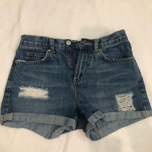 top shop moto jean shorts